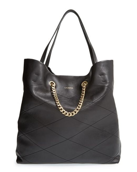 Lanvin | Black 'carry Me' Quilted Lambskin Leather Tote | Lyst