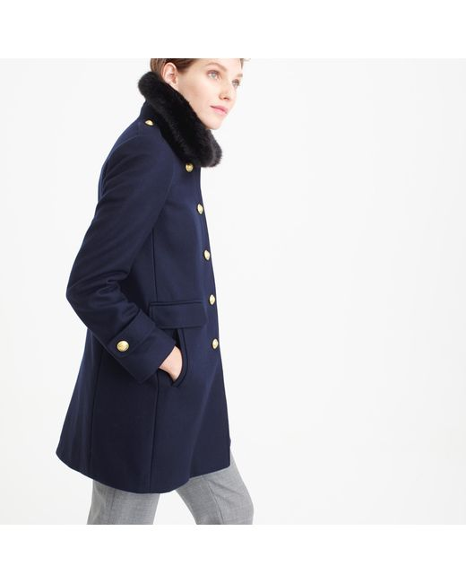 J.Crew | Blue Wool Melton Military Coat With Faux-fur Collar | Lyst