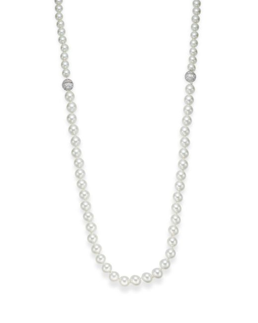 CZ by Kenneth Jay Lane | Metallic 10-12mm Mother-of-pearl Necklace | Lyst