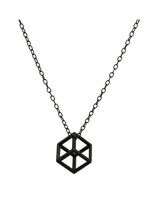Stephanie Bates   Black Oxidised Silver Cube Pendant   Lyst