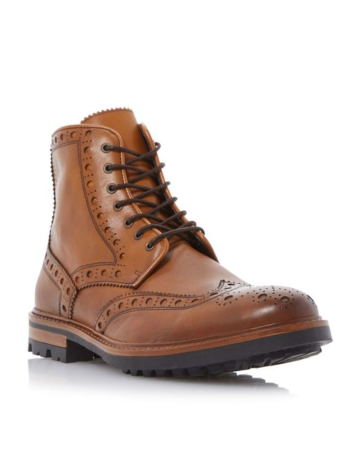 Bertie | Brown Cyrus Leather Brogue Boots for Men | Lyst