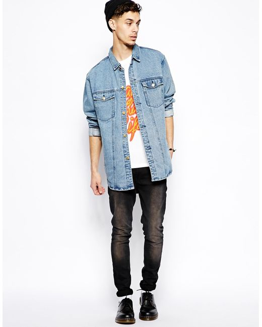 Cheap monday Longline Denim Jacket in Blue for Men | Lyst