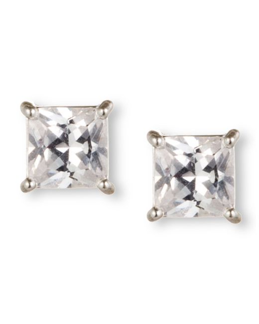 Nine West | Metallic Silver-tone Princess-cut Crystal Stud Earrings | Lyst