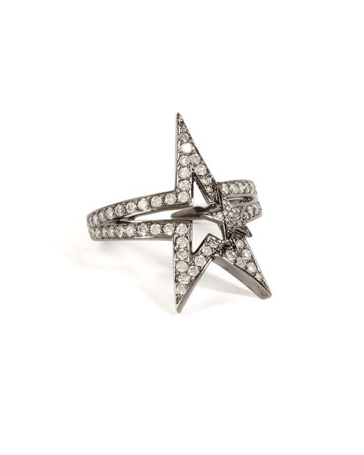 Nikos Koulis | 18k Black Rhodium Fontana Ring With White Diamonds - Silver | Lyst