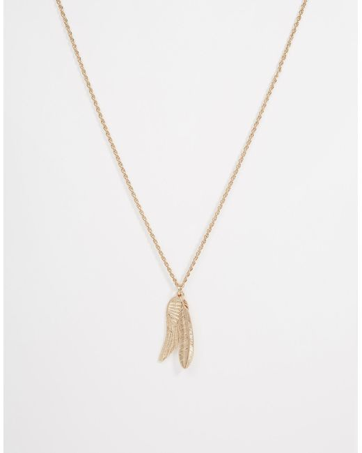 ASOS | Metallic Gold Feather Necklace - Gold for Men | Lyst
