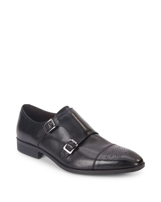 Saks Fifth Avenue | Black Connery Leather Double Monk-strap Shoes for Men | Lyst