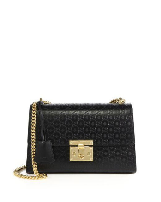2fdce089a Gucci Padlock Gg Medium Leather Shoulder Bag in Black (black-gold) | Lyst