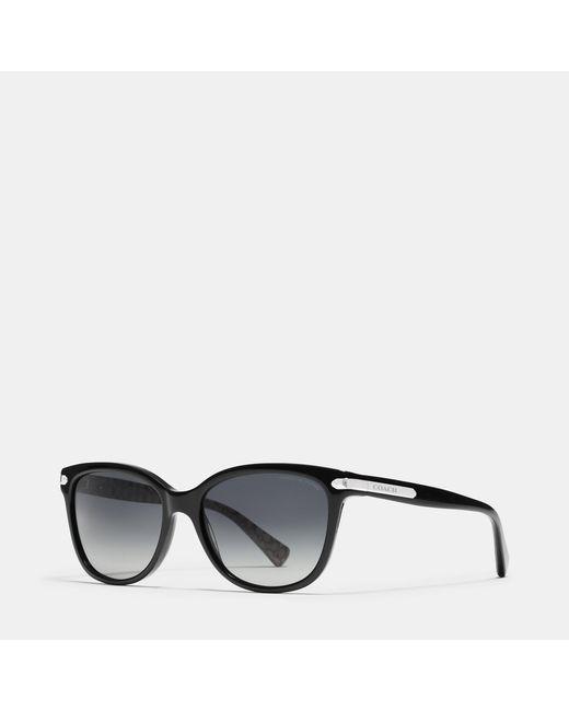 COACH | Black Tag Temple Cat Eye Sunglasses | Lyst
