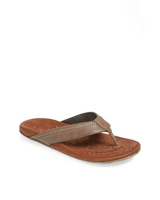 Olukai | Gray 'hiapo' Flip Flop for Men | Lyst