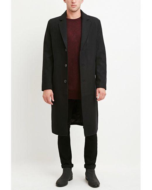 Forever 21 | Black Wool-blend Longline Coat for Men | Lyst