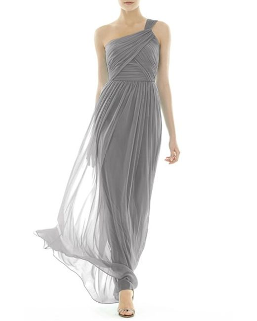 Alfred Sung | Gray One-shoulder Shirred Chiffon Gown | Lyst