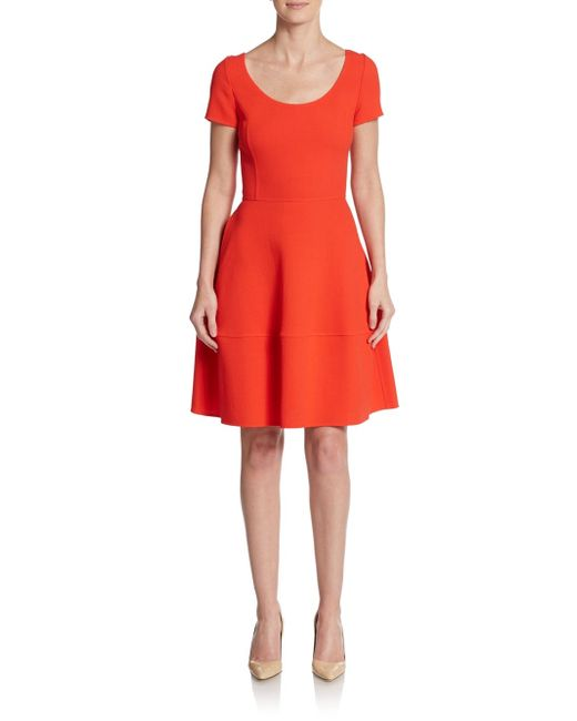 Oscar de la Renta | Orange Wool Fit-and-flare Dress | Lyst