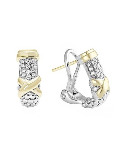 Lagos | Metallic 'diamond Lux' Diamond Half Hoop Earrings | Lyst