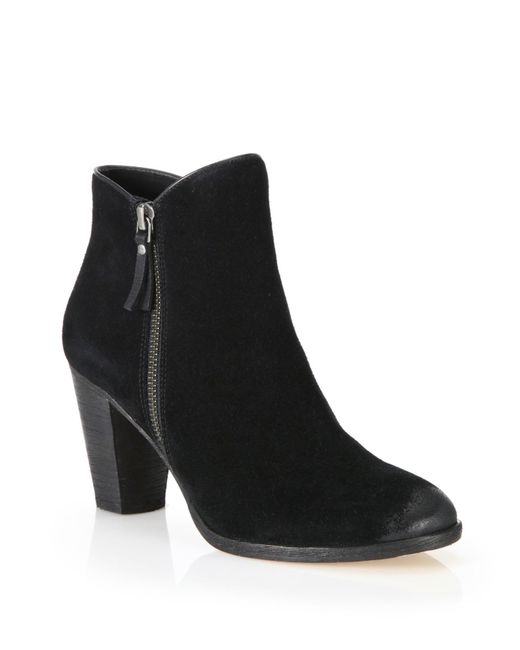 Cole Haan | Black Hayes Suede Zip Ankle Boots | Lyst