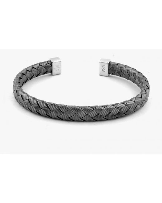 Tateossian | Bamboo Bracelet In Tightly Weaved Black Rhodium Plated Silver With Silver Caps for Men | Lyst