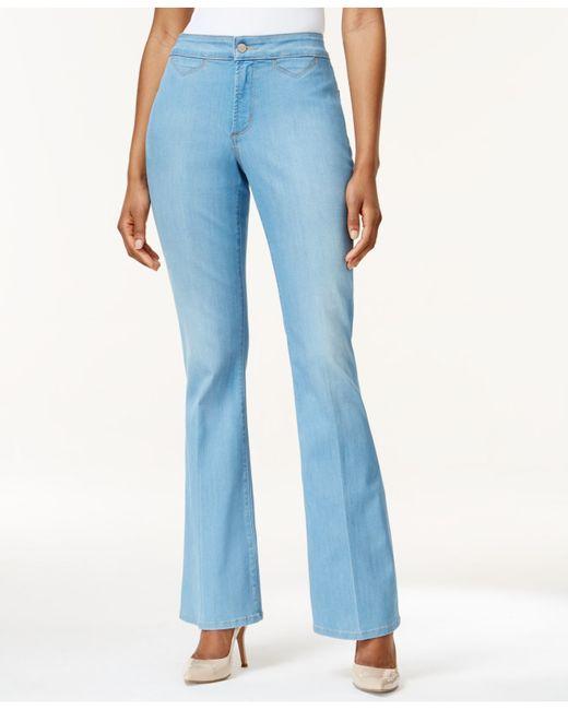 Nydj Petite Farrah Flare Leg Palm Bay Wash Jeans In Blue