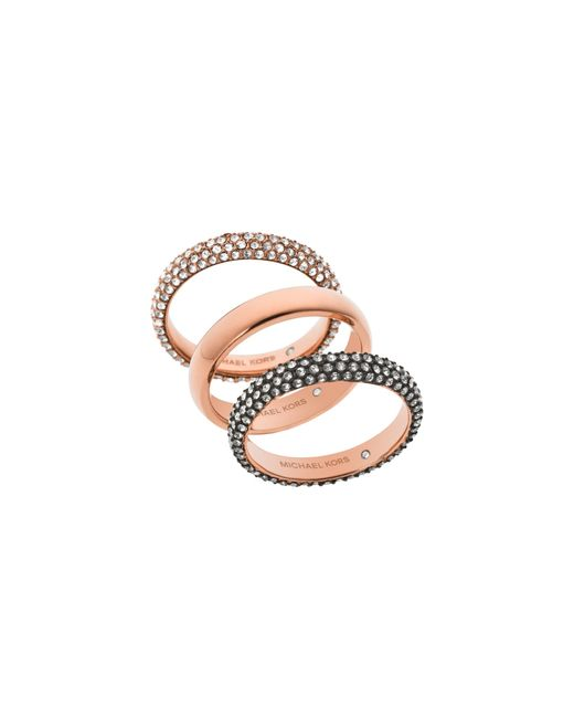 Michael Kors | Pink Pavé Rose Gold-tone Ring Stack | Lyst
