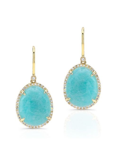 Anne Sisteron | Metallic 14kt Yellow Gold Diamond Oval Amazonite Diamond Earrings | Lyst