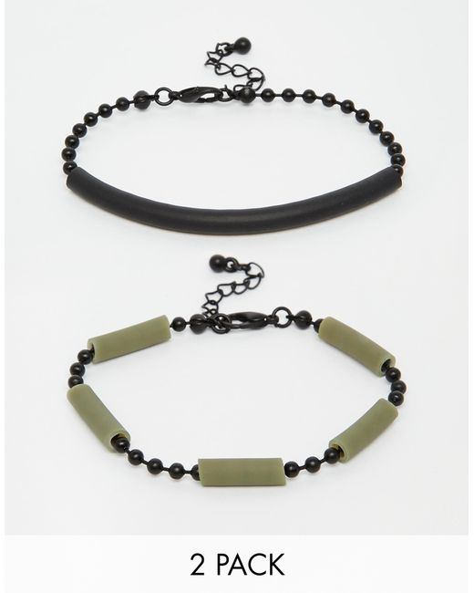 asos bracelet pack with rubber in green for