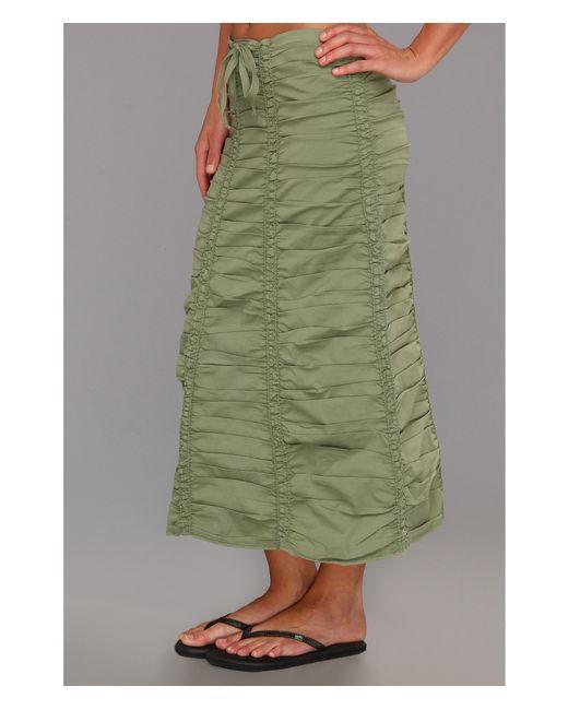 XCVI | Green Stretch Poplin Double Shirred Panel Skirt | Lyst
