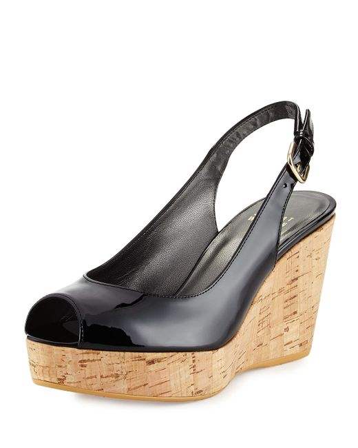 Stuart Weitzman Jean Patent Peep Toe Wedge Sandal In Black
