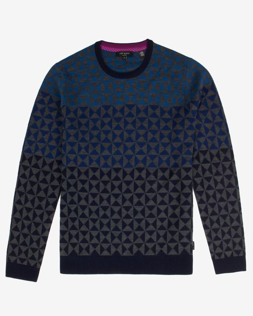 Ted Baker | Blue Ombré Pattern Wool Jumper for Men | Lyst