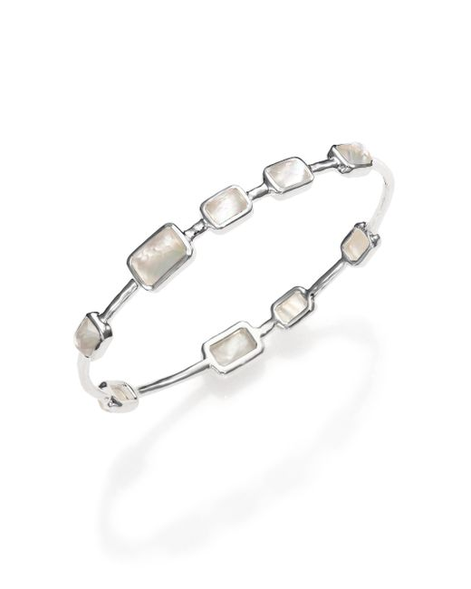 Ippolita | Metallic Rock Candy Mother-of-pearl, Clear Quartz & Sterling Silver Rectangle Doublet Station Bangle Brac | Lyst