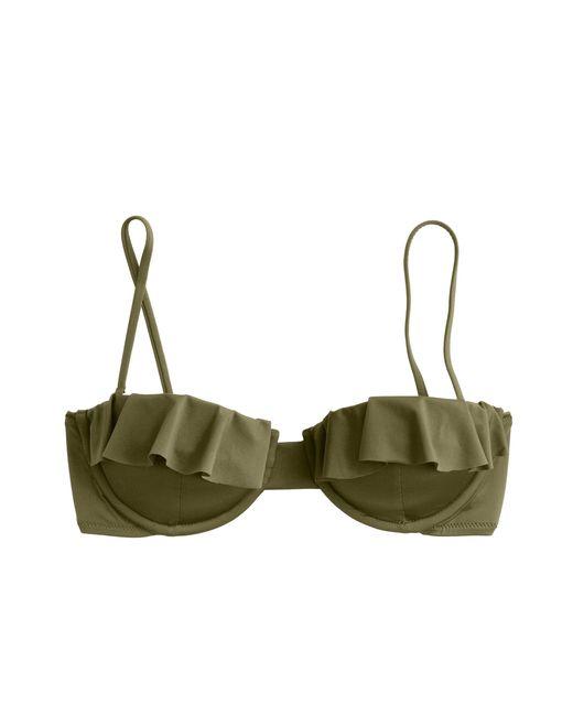 J.Crew | Green Jersey Lomellina Ruffle Underwire Bikini Top | Lyst