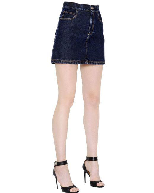 givenchy cotton denim mini skirt in blue denim lyst