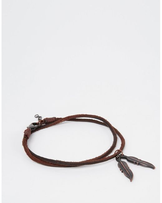 ASOS | Anklet With Feather In Brown Leather - Brown for Men | Lyst