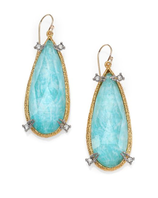 Alexis Bittar | Blue Elements Gilded Muse D'Ore Amazonite & Crystal Pear Drop Earrings | Lyst