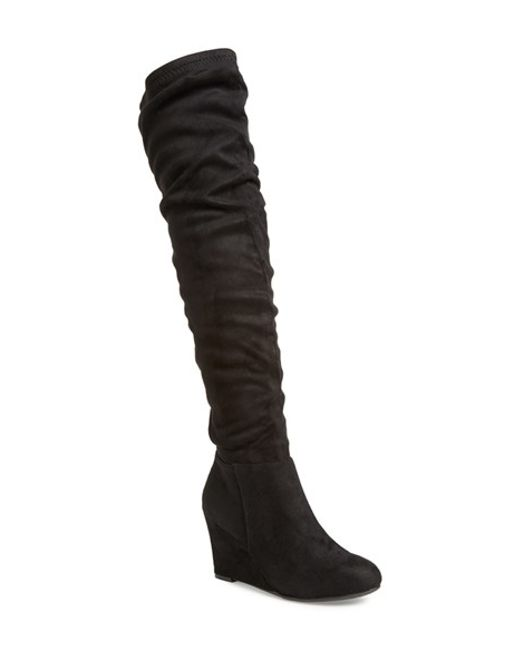 Chinese Laundry | Upside Over The Knee Wedge Boots - Black | Lyst