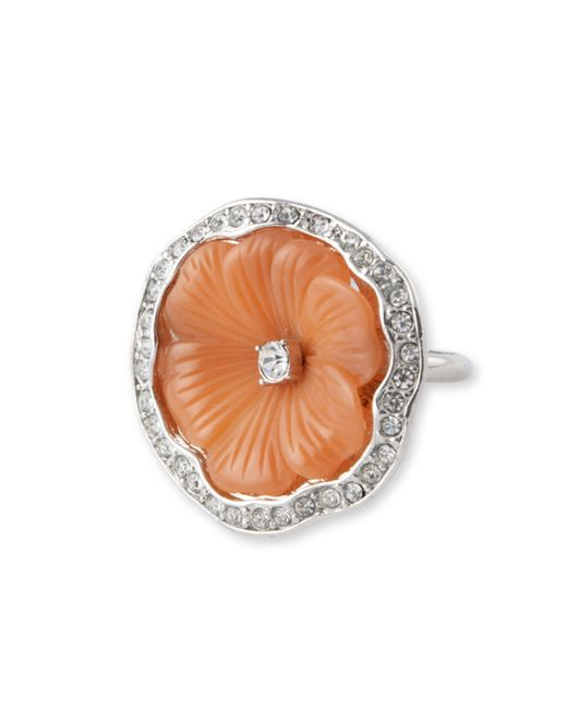 Kenneth Jay Lane | Orange Coral Flower Ring | Lyst