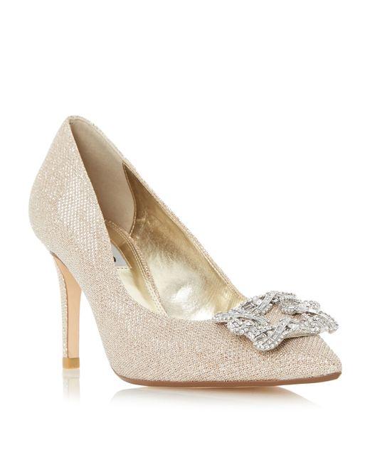 Dune Gold Betti Jewelled Brooch Detail Mid Heel Court Shoe