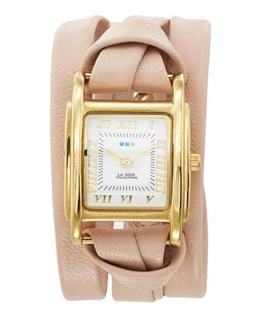 La Mer Collections | Pink 'milwood' Leather Wrap Watch | Lyst
