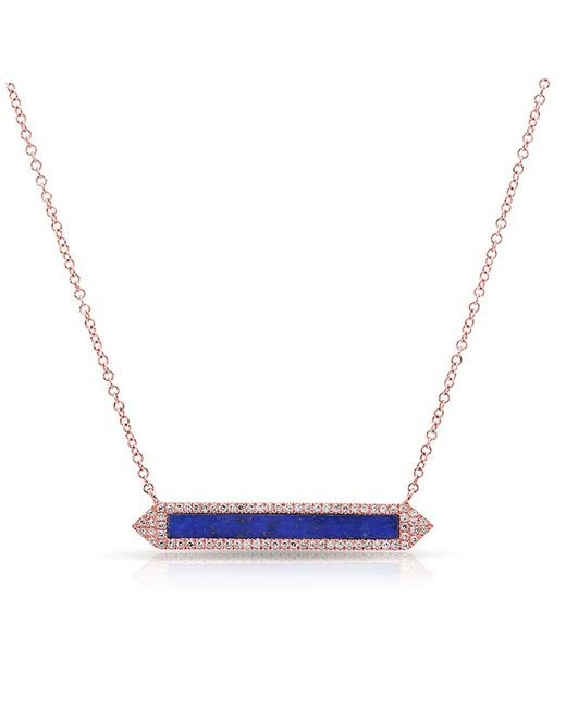 Anne Sisteron - Multicolor 14kt White Gold Lapis Diamond Bar Necklace - Lyst