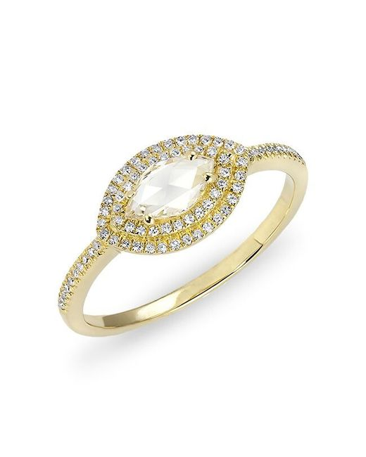 Anne Sisteron - Metallic 14kt Yellow Gold Diamond Marquis Double Halo Ring - Lyst