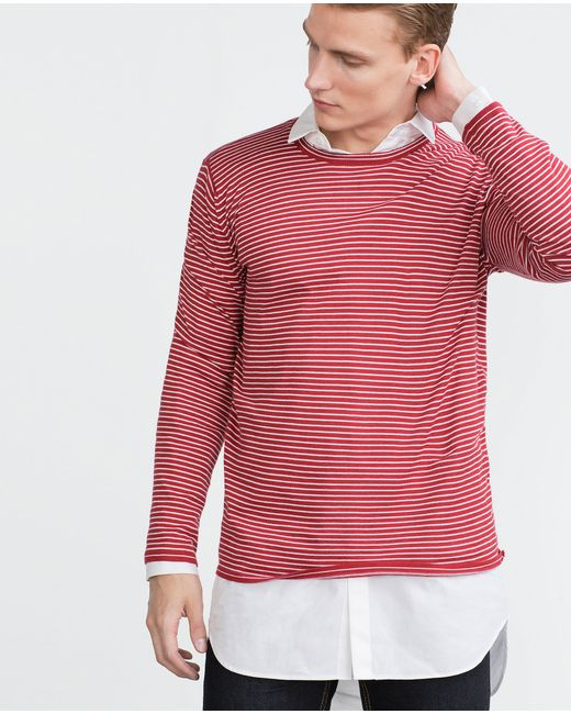 Zara | Red Striped Sweater for Men | Lyst