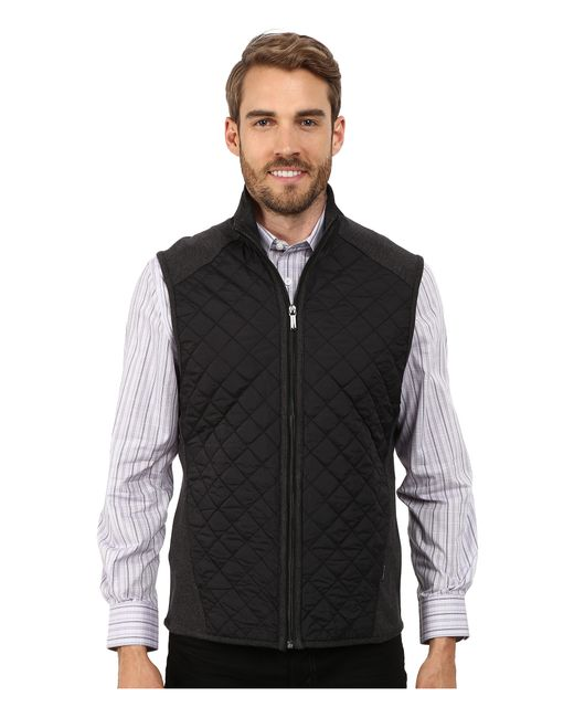 Perry Ellis | Gray Quilted Mix Media Vest for Men | Lyst