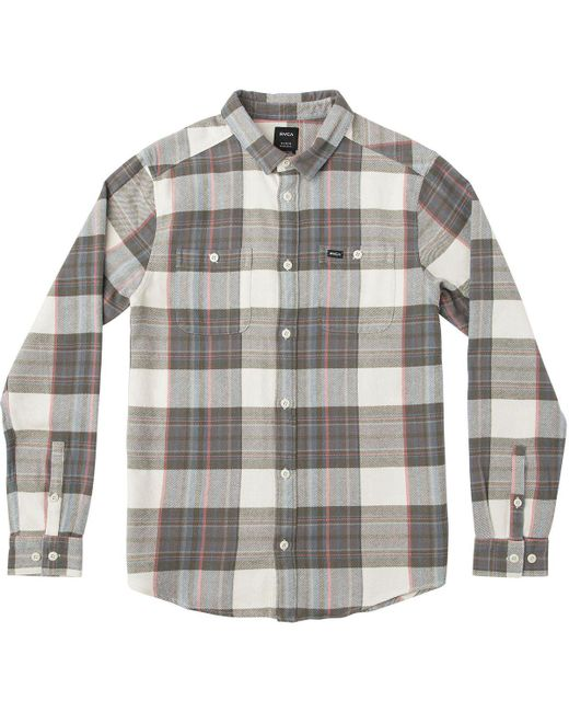 RVCA - Gray Ludlow Flannel Shirt for Men - Lyst