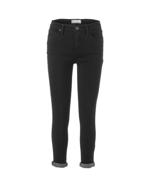 Free People | Black Gummy Hi-rise Roller Crop Denim Pant | Lyst