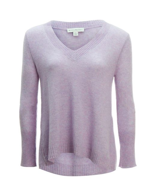 White + Warren - Purple Swing V-neck Sweater - Lyst