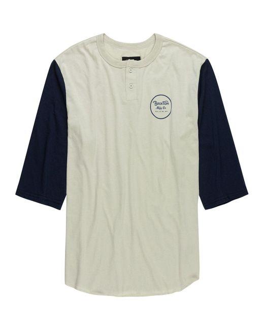 Brixton - Blue Wheeler Henley T-shirt for Men - Lyst