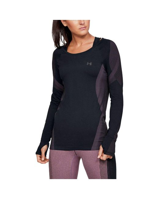 914eac89 Under Armour - Black Vanish Seamless Keyhole Top - Lyst ...