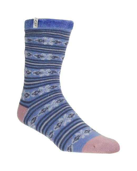 Ugg - Blue Fair Isle Fleece Lined Sock - Lyst