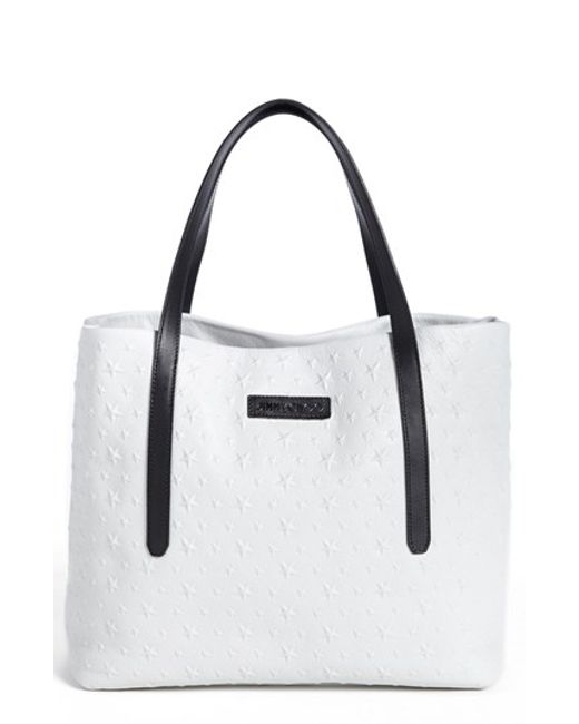 Jimmy Choo | White 'sara' Star Embossed Tote | Lyst