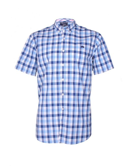 Raging Bull | Blue Voile Check Short Sleeve Button Down Shirt for Men | Lyst