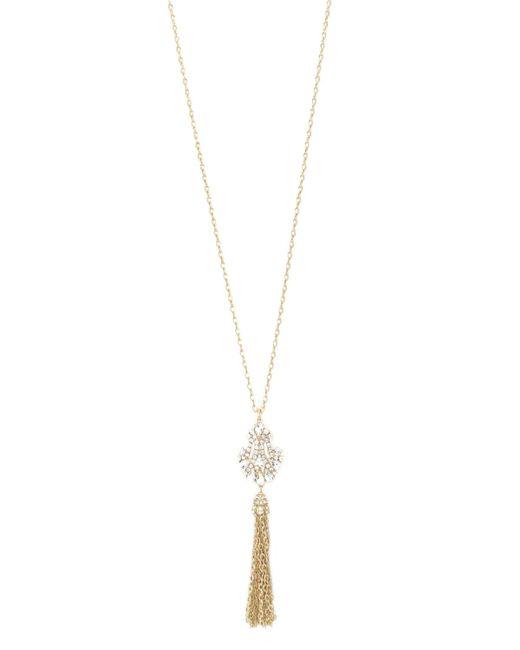 Badgley Mischka | Metallic Tassel Necklace | Lyst