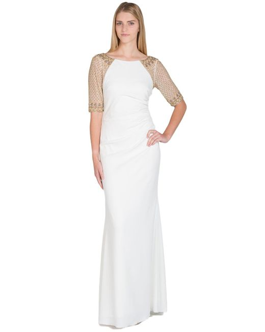Badgley Mischka | White Raglan Beaded Sleeve Evening Gown | Lyst