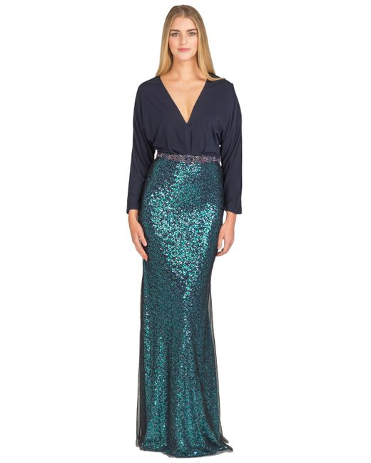 Badgley Mischka | Blue Sequin-embellished Crepe-jersey Maxi Dress | Lyst
